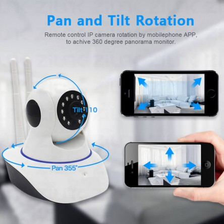 Double Antenna WiFi IP Security Camera- wireless CCTV Camera for home and office security