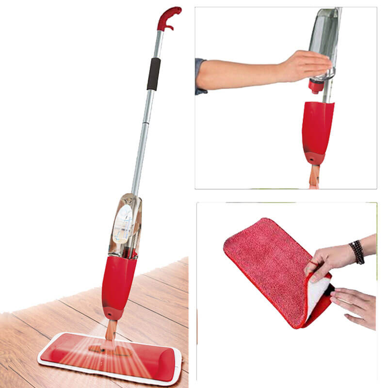 Water Spray Mop With Reusable Microfiber Pads 360 Degree Metal Handle Mop For Home Kitchen Laminate Wood Ceramic Tiles Floor Cleaning, Quick floor Cleaner with Refillable Water Bottle