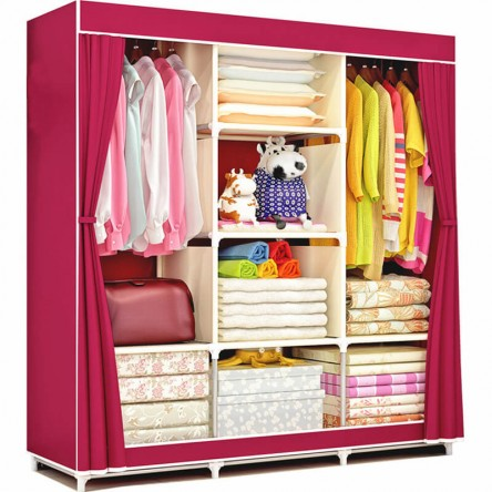 Wardrobe Cloth Storage Organizer (Large Size) - Portable Folding Fabric Wardrobe
