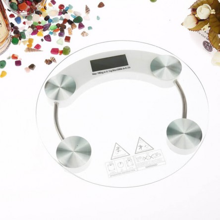 Digital Body Weight Scale, Glass Top, Large LCD Display, Precision Measurements (Round)