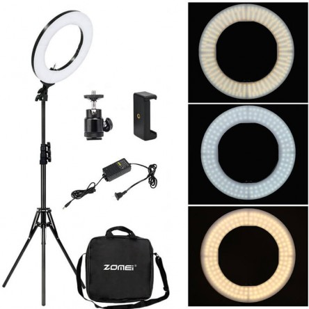 ZOMEI 18 inch Premium Quality LED Ring Light Full Set With Stand And Carry Bag / 50W 5500K Lighting Kit with Color Filter, Hot Shoe Adapter for Lighting for Makeup Camera Smartphone YouTube Video Shooting