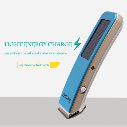 Kemei KM-579 Solar Rechargeable Electric Hair Trimmer Clipper, Rechargeable Beard Trimmer, Hair Cutting Machine